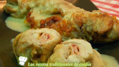 Receta fácil de muslos de pollo rellenos de jamón cocido y queso