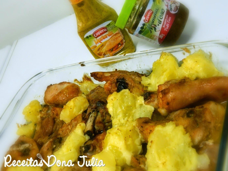 frango assado com laranja e batata assada