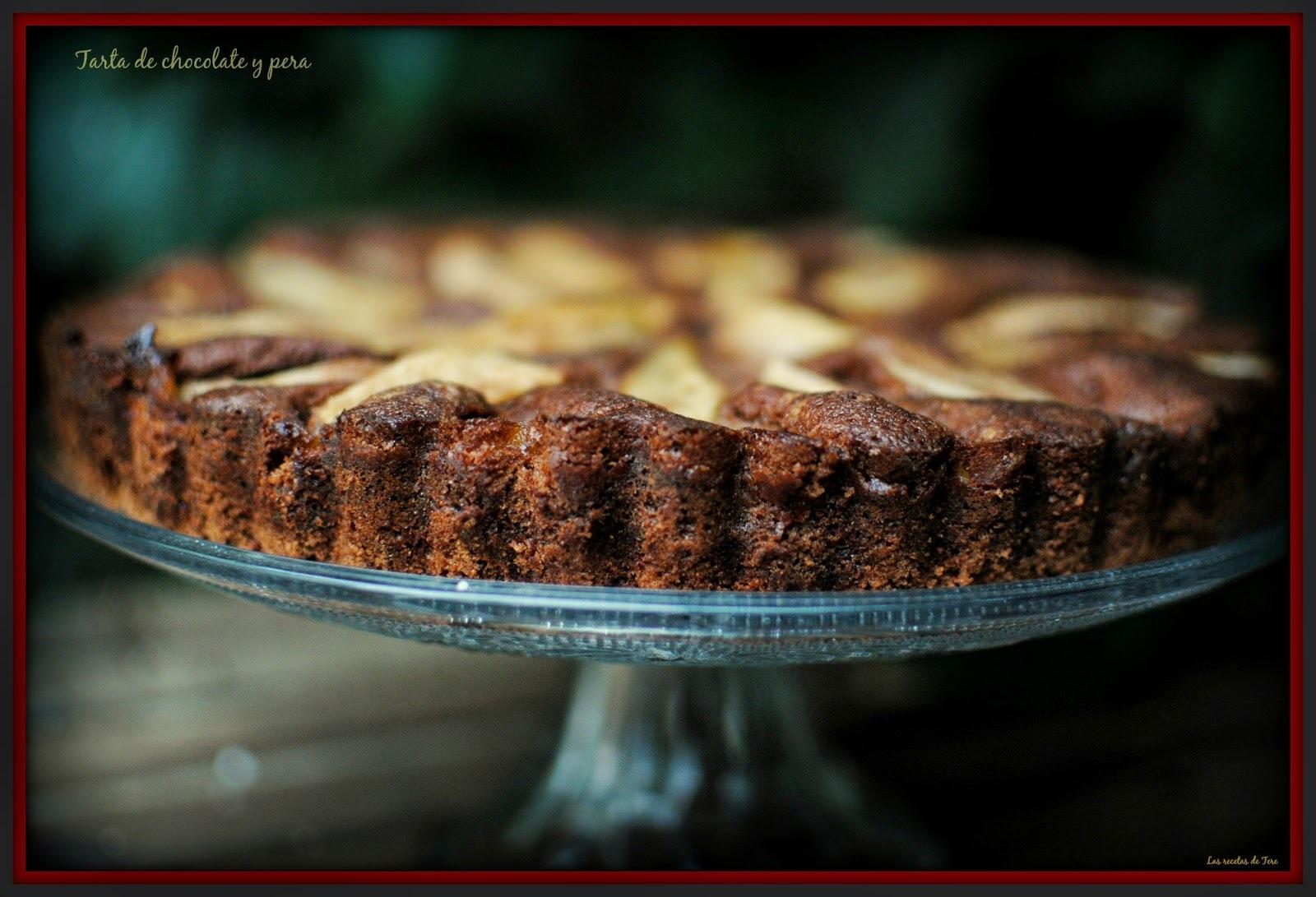 Tarta de chocolate y pera.
