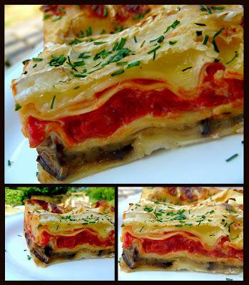 Lasagne aux aubergines, Brie de Meaux et noix