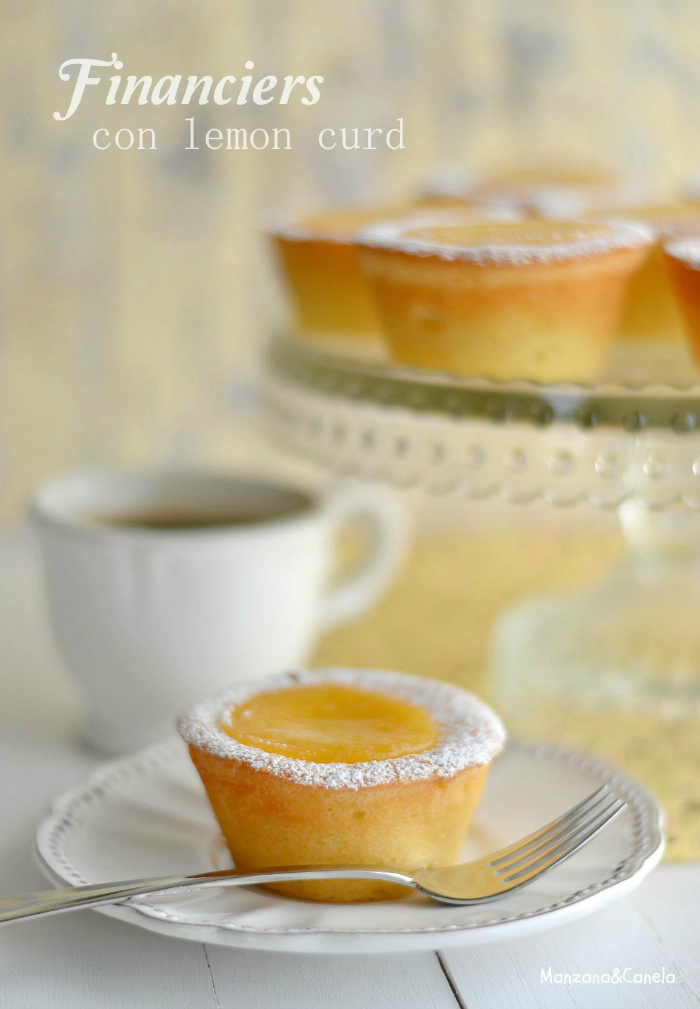 Financiers con lemon curd