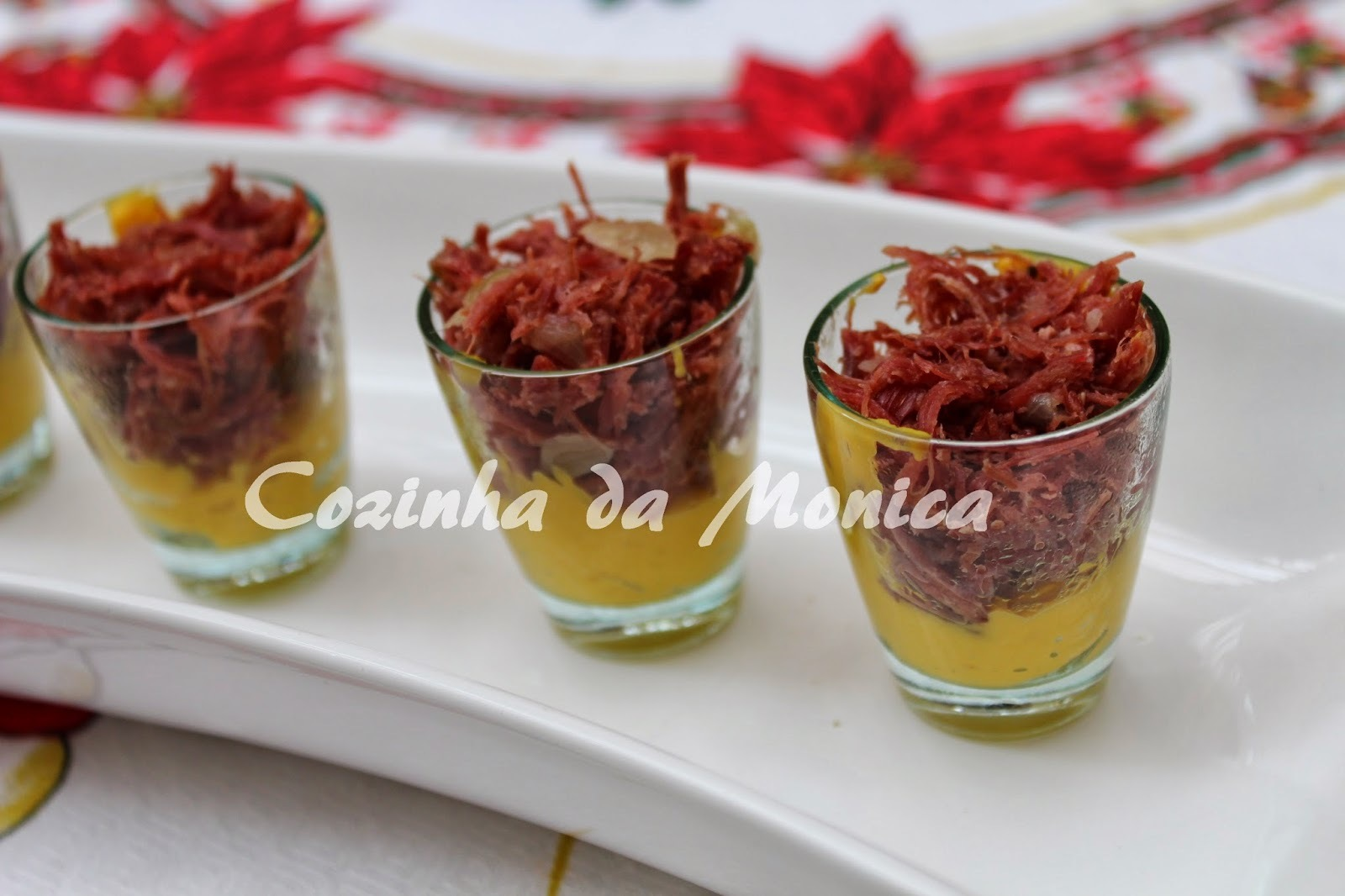 Verrine de abóbora e carne seca