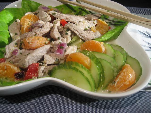 Filet de porc mariné à l'érable au yuzu en salade fraïche