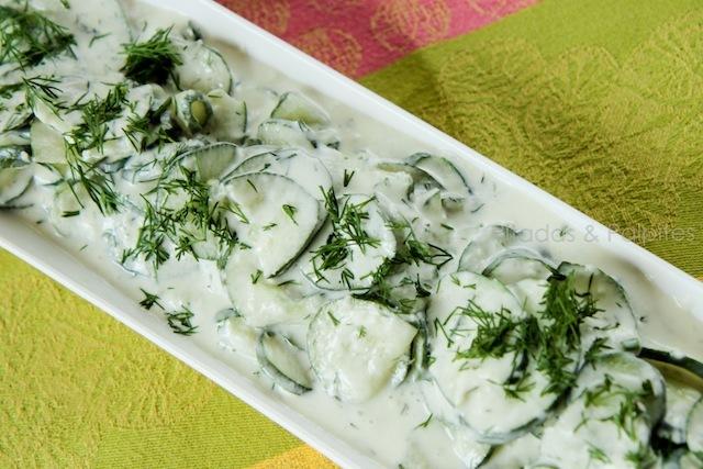 Salada de Pepino, iogurte e dill