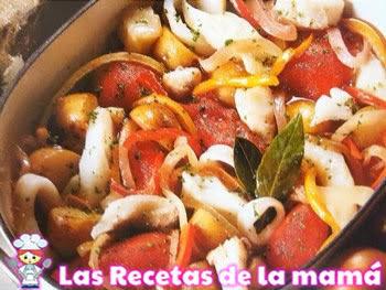 Receta de Pescado y calamares en salsa