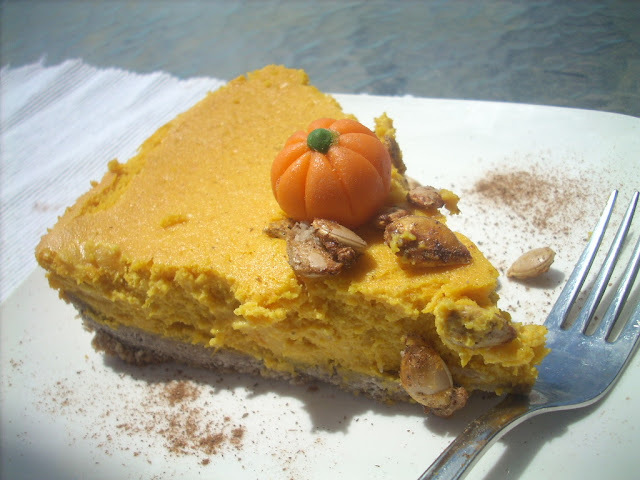 Creamy Pumpkin Cheescake with ginger pecan crust