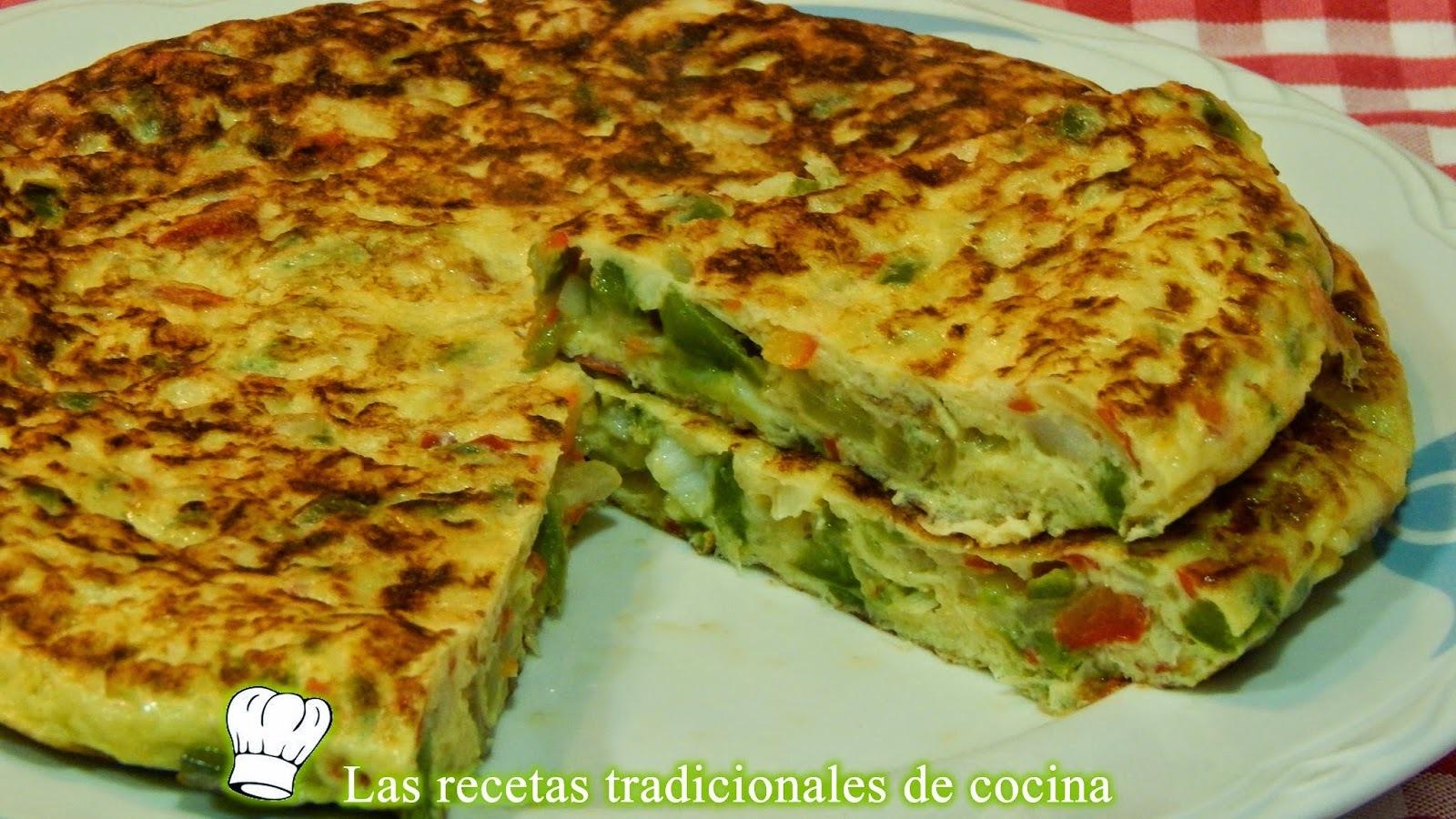 Receta fácil de tortilla de bacalao y pimientos