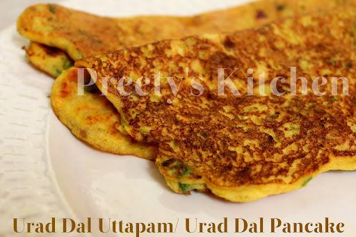 Urad Dal Uttapam / Urad Dal Pancake (Step By Step Recipe)