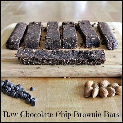 Raw Chocolate Chip Brownie Bars