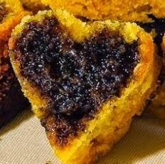 Mini-bolos de Cenoura em formato de coração