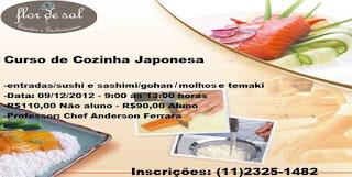 Curso de Cozinha Japonesa - 09/12 - das 9:00 ás 13:00 horas