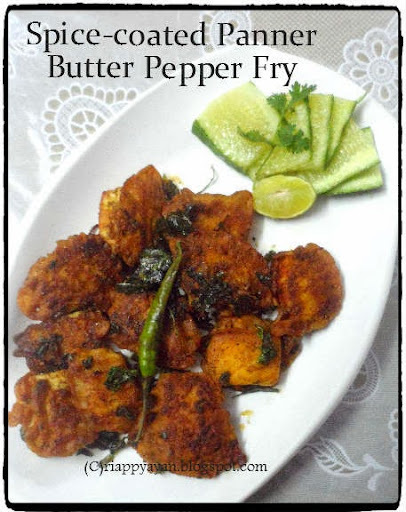 Spice-coated Paneer Butter Pepper Fry ~ an easy appetizer