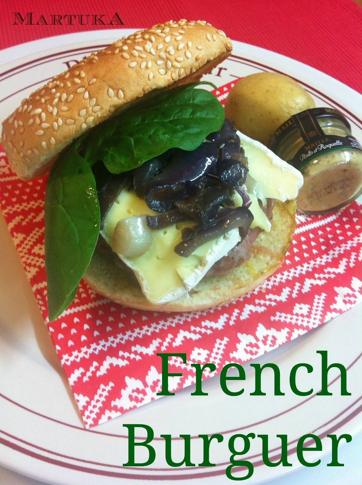Hamburguesa Francesa (Con Cebolla, Brie Y Mostaza)
