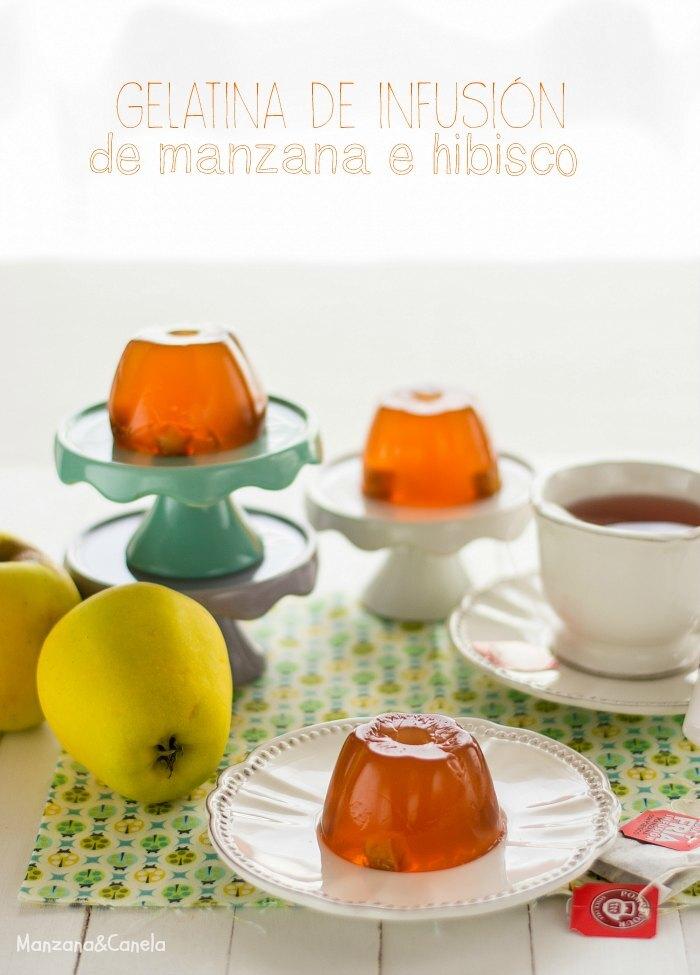 Gelatina de infusión de manzana e hibisco