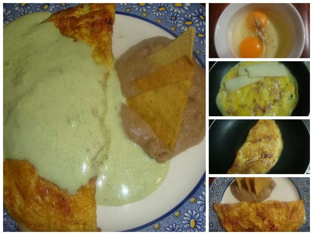 Omelette con salsa de chile poblano y jamón
