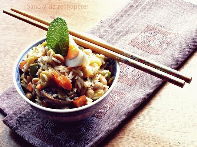 Soja con verduras y arroz