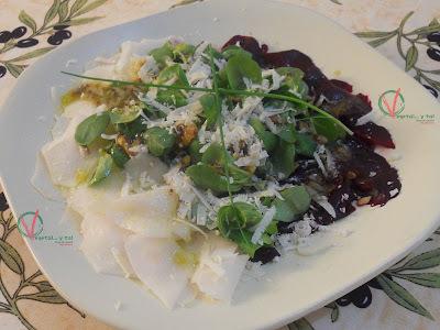 Ensalada carpaccio de remolacha y nabicol