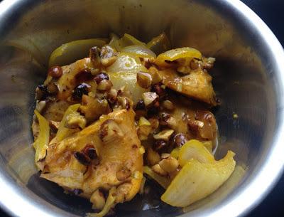 Pollo con miel y avellanas (30 minutos + 30 en el horno)