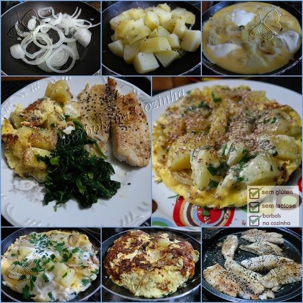 Fritada de batatas com filé de peixe e espinafre sem glúten sem lactose