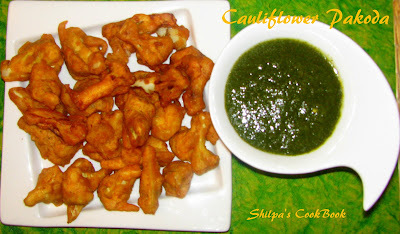 Cauliflower Pakoda or Cauliflower Fritters