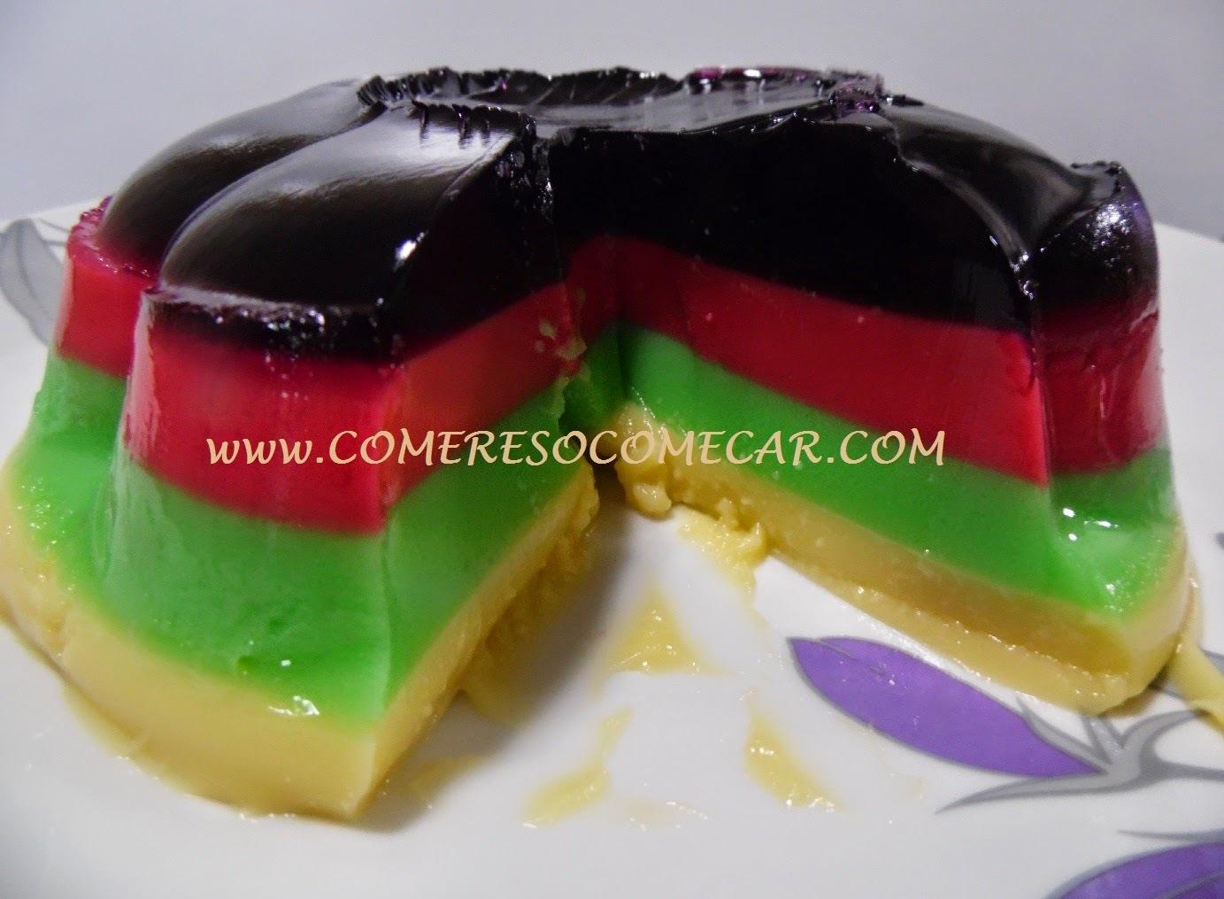 gelatina com leite condensado duas cores