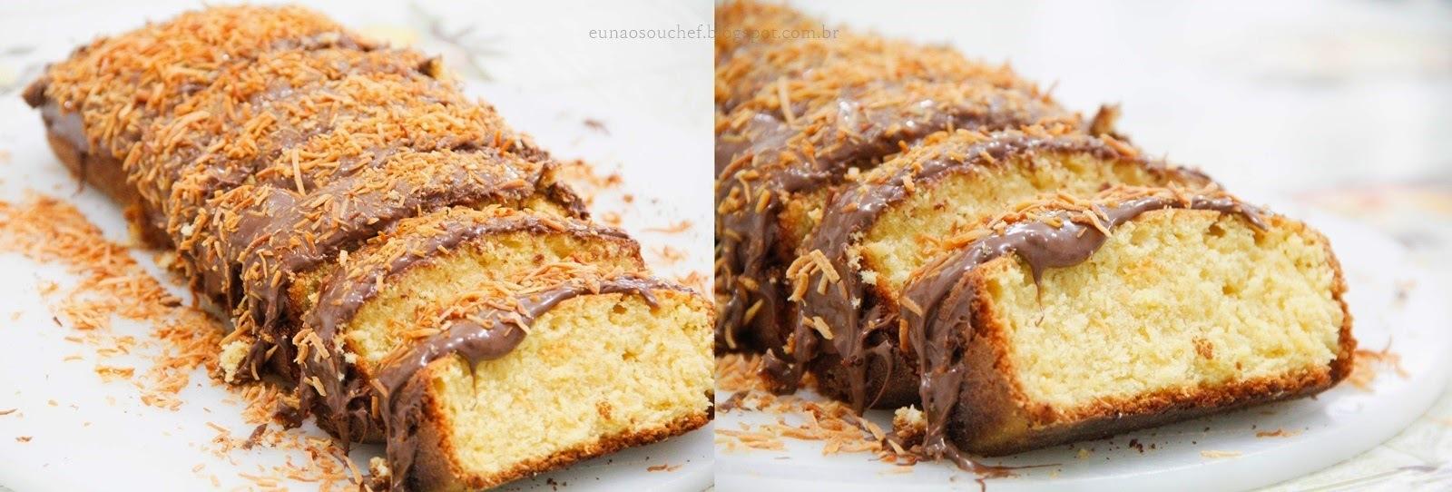 Bolo de côco com cobertura de nutella