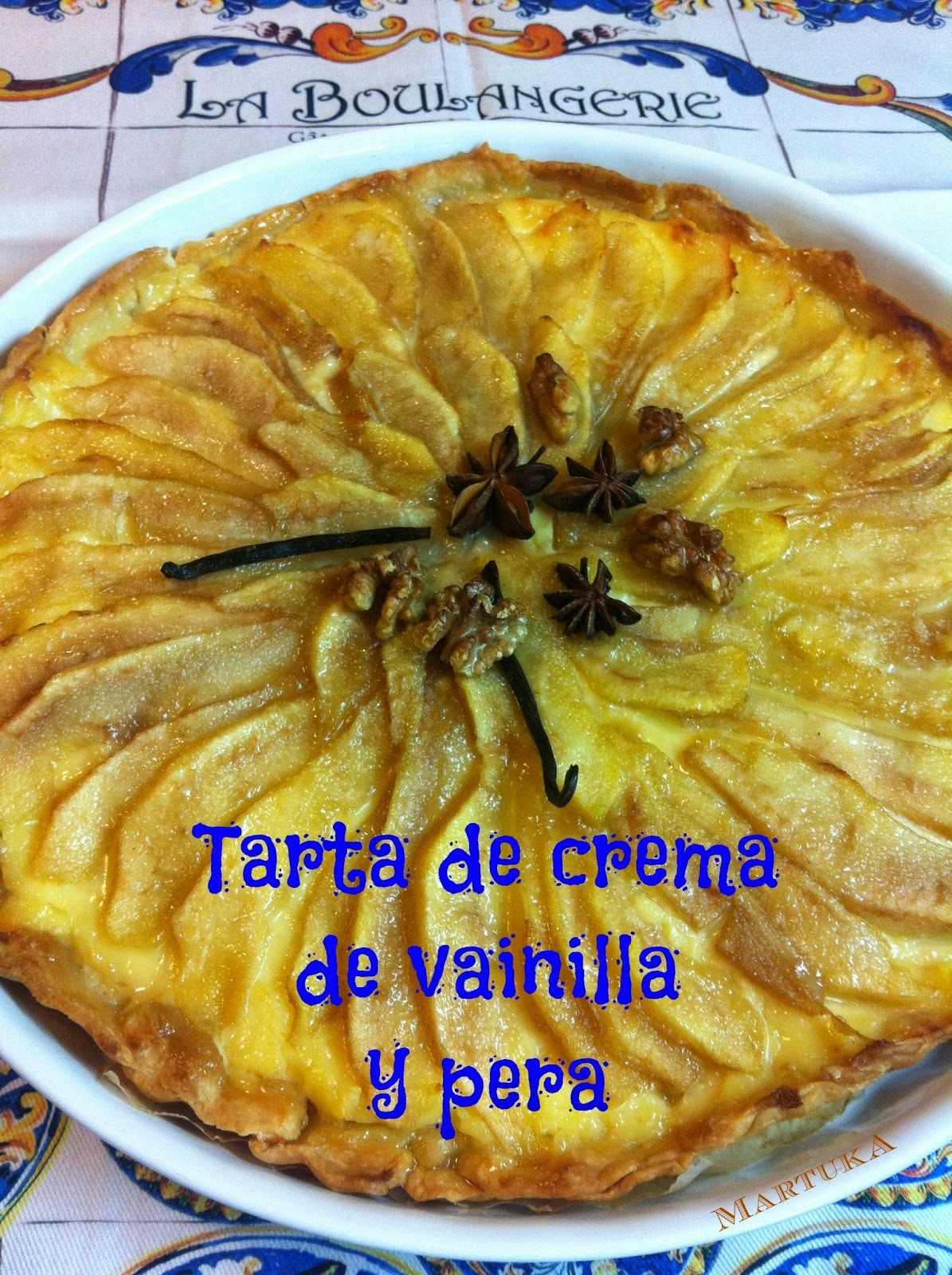Tarta De Crema De Vainilla Y Pera