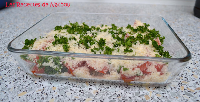 Tomates gratinées au parmesan et scampis poêlés