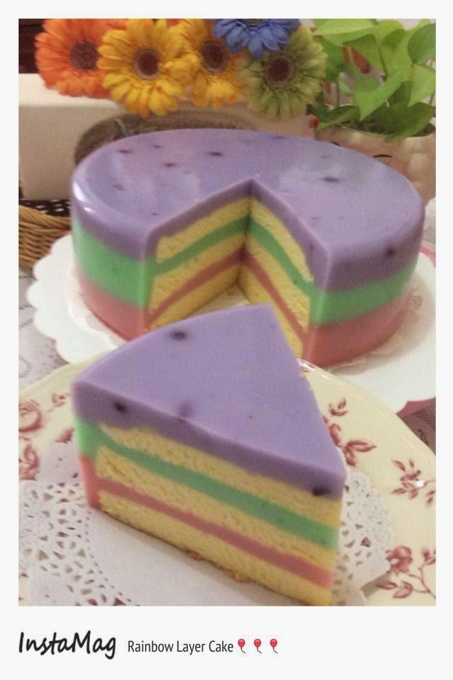 ~ Rainbow Layer Cake ❤ 彩虹千层蛋糕 ~