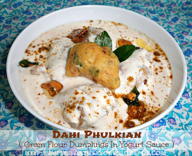 Dahi Phulkian ( Gram Flour Dumplings In Yogurt Sauce )