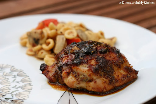 Honey and grainy mustard-glazed chicken thighs with orrechiette salad
