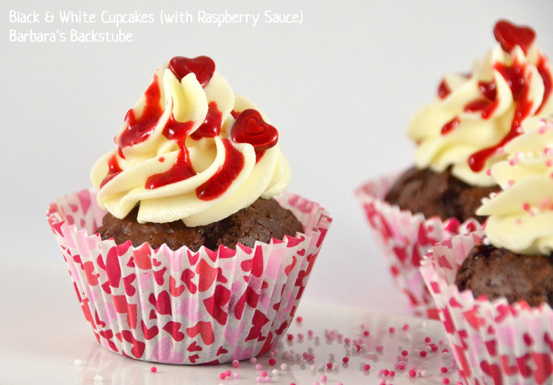 Black & White Cupcakes (with Raspberry Sauce)