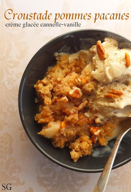 Croustade pommes noix de pécan et crème glacée maison cannelle-vanille