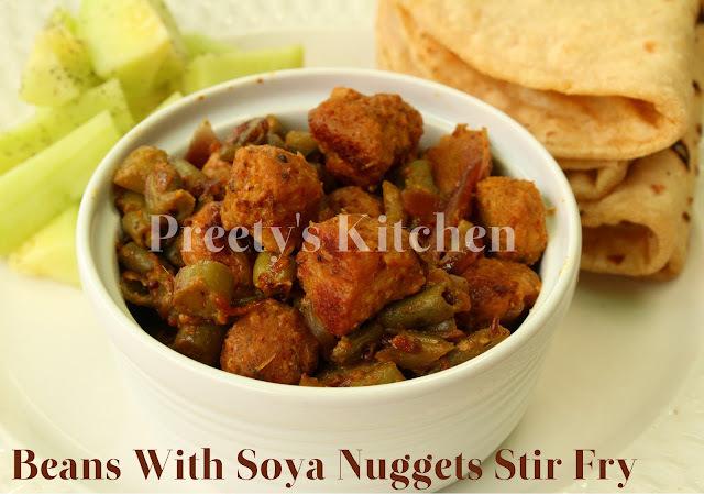 Beans & Soya Nuggets Stir Fry / Beans Nutri Ki Sabzi