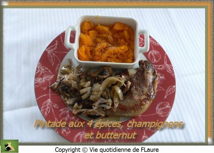 Pintade aux 4 épices, champignons et butternut