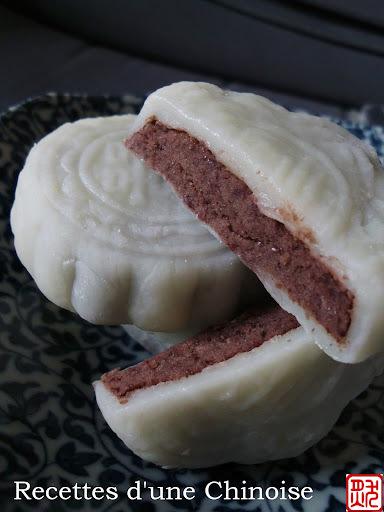 Gâteau de lune glacé de haricots rouges azuki 红豆冰皮月饼 hóngdòu bīngpí yuèbing