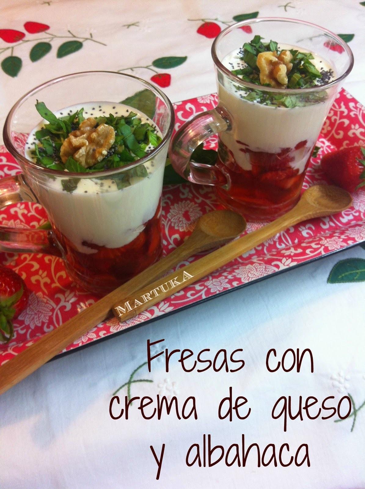 Fresas Con Crema De Queso Y Albahaca