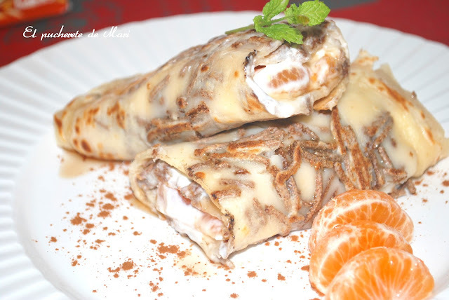 CREPES DE PALITOS ALL-BRAN, QUESO CREMA  Y MANDARINA