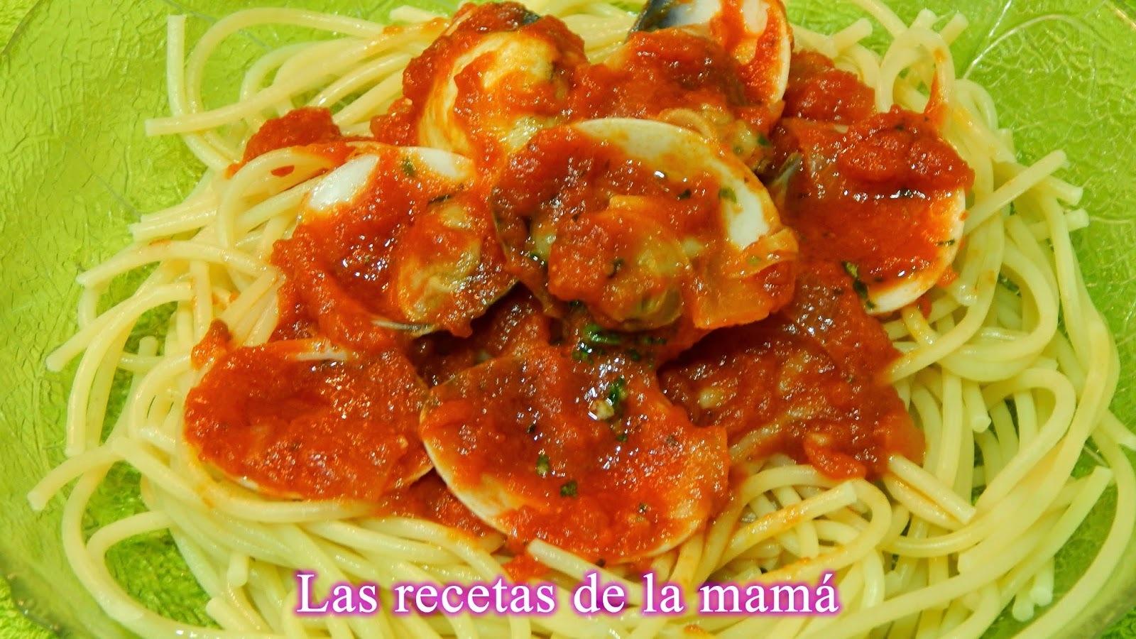 Espaguetis con salsa de almejas