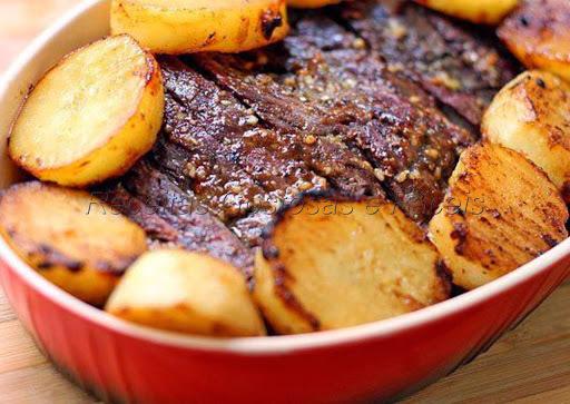fraldinha assada com batatas