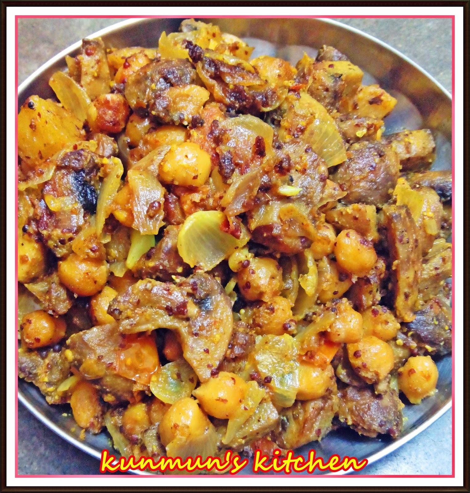 Chhatu-Kabuli chana Besara Poda (Mushroom-Chickpeas dry roast in mustard flavour)