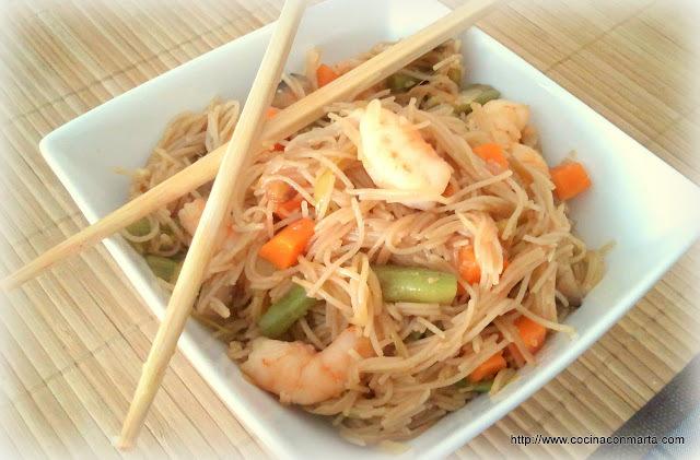 Noodles con verduras (Fideos chinos)