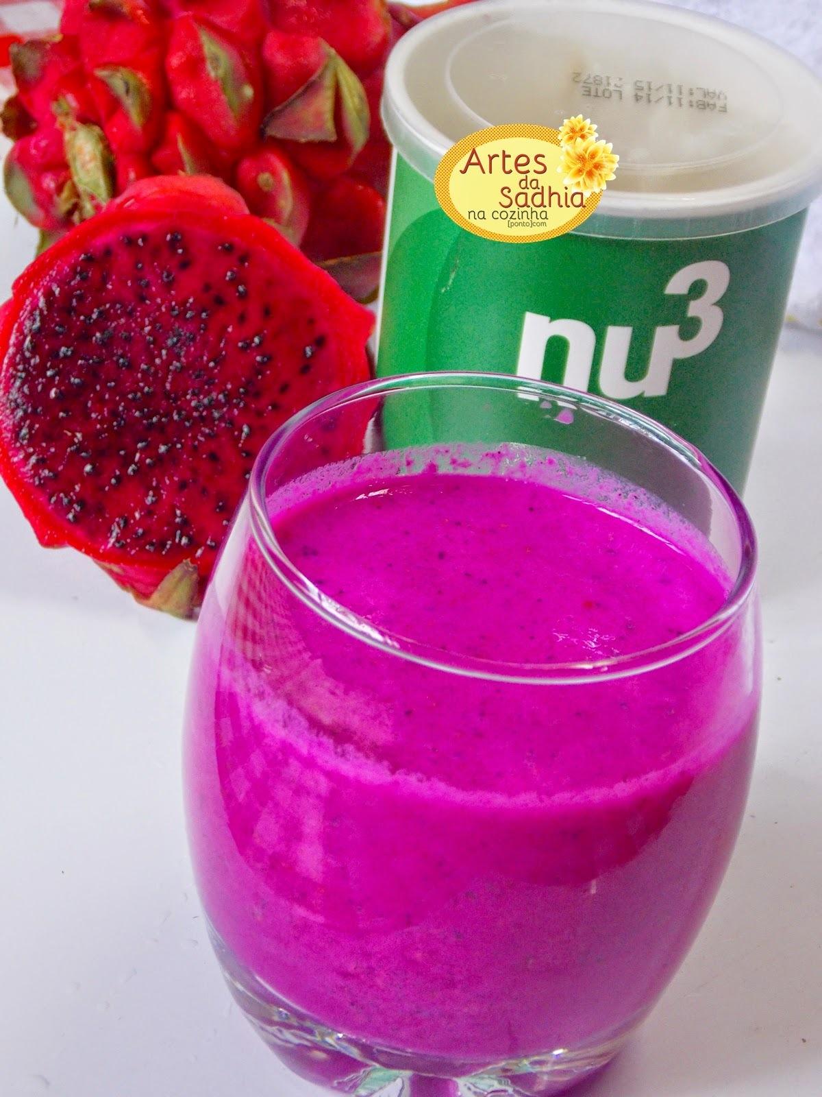 Suco de pitaya com abacaxi e farinha de linhaça  Natue