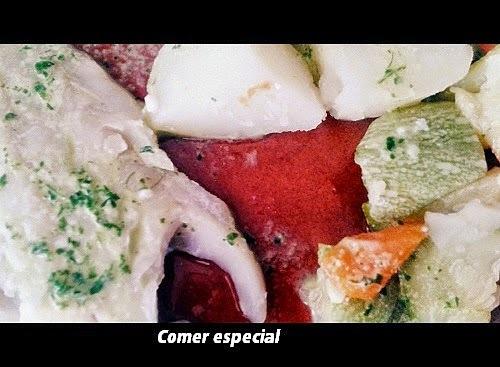 Filete de merluza y verduras al vapor en thermomix