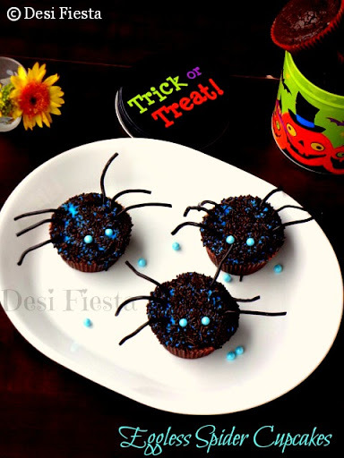 Eggless Ghostly Spider Cupcakes