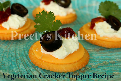 Vegetarian Cracker Topper Recipe ( Bite Size Party Appetizer )