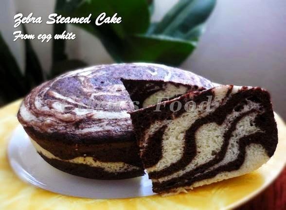 Zebra cake kukus dari putih telur