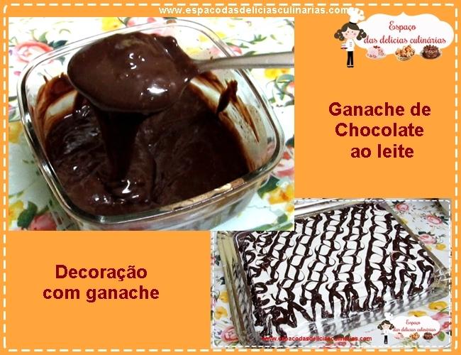 Ganache de chocolate ao leite, para decoração de bolos, tortas, pavês...