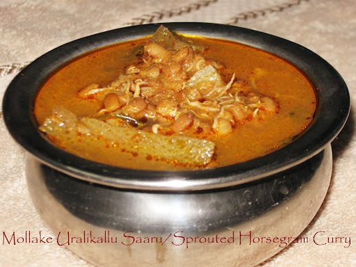Mollake Uralikallu  Saaru / Sprouted Kulath Curry /Sprouted Horsegram Curry
