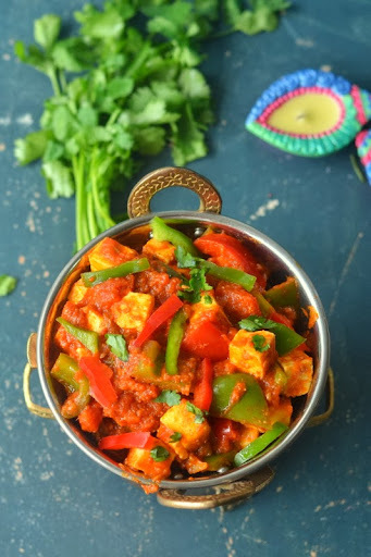 Kadhai Paneer - No onion garlic - Indian Cottage Cheese Capsicum curry